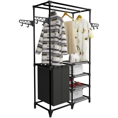Hommoo Clothes Rack Steel and Non-woven Fabric 87x44x158 cm Black QAH11692