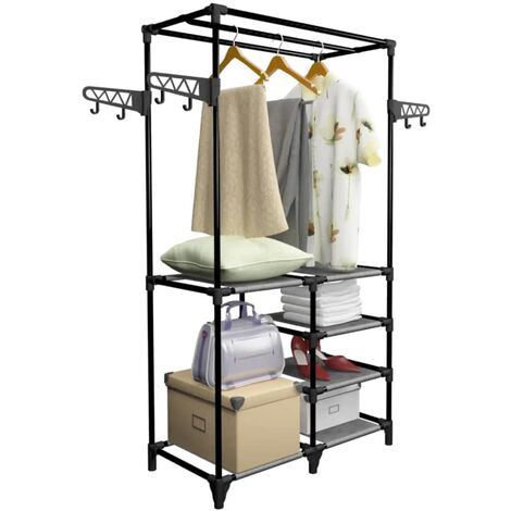 Hommoo Clothes Rack Steel and Non-woven Fabric 87x44x158 cm Black QAH11693