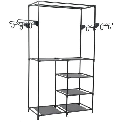 Hommoo Clothes Rack Steel and Non-woven Fabric 87x44x158 cm Black VD11693