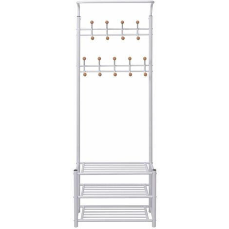 Hommoo Clothes Rack with Shoe Storage 68x32x182.5 cm White QAH10009