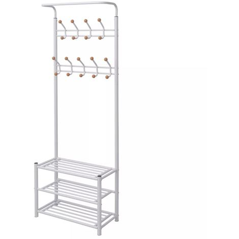 Hommoo Clothes Rack with Shoe Storage 68x32x182.5 cm White VD10009