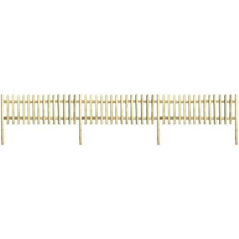 Hommoo Clôture à piquets Bois de pin imprégné 5,1 m 150 cm 5/7 cm