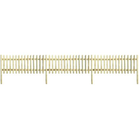 Hommoo Clôture à piquets Bois de pin imprégné 5,1 m 170 cm 5/7 cm