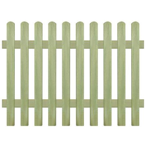 Hommoo Clôture à piquets Bois de pin imprégné FSC 170 x 120 cm 6/9 cm