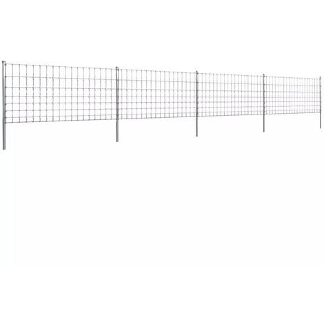 Hommoo Clôture avec poteaux Fer enduit de zinc 50 m 100/8/15