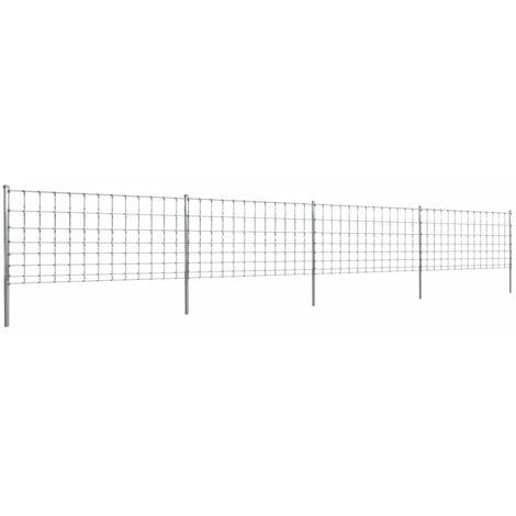 Hommoo Clôture avec poteaux Fer enduit de zinc 50 m 100/8/30