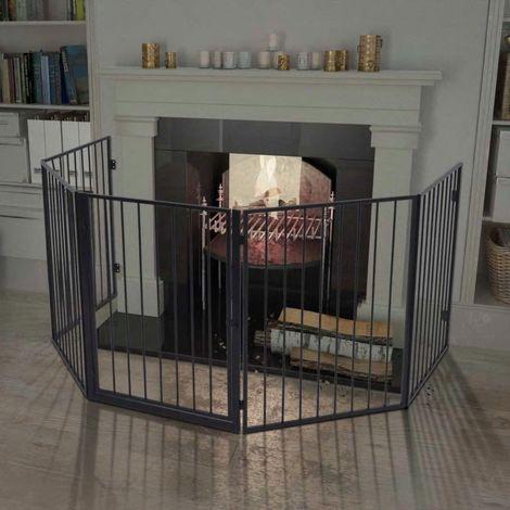 Hommoo Clôture de cheminée pour animaux de compagnie Acier Noir