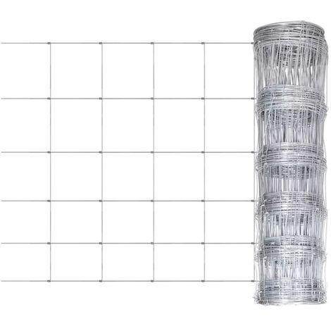 Hommoo Clôture de jardin Acier galvanisé 50 m 80 cm