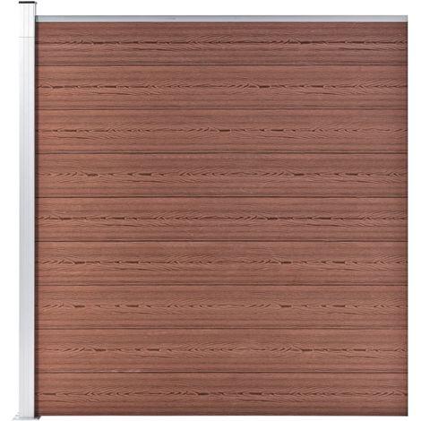Hommoo Clôture de jardin WPC 180x186 cm Marron