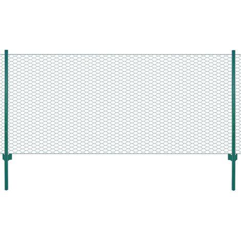 Hommoo Clôture en grillage métallique avec poteaux Acier 25x0,5 m Vert