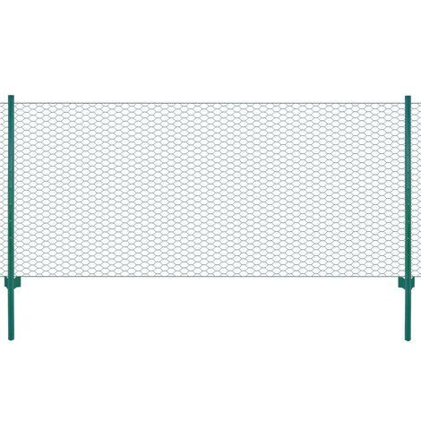 Hommoo Clôture en grillage métallique avec poteaux Acier 25x0,75m Vert
