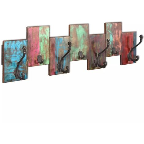 Hommoo Coat Rack with 7 Hooks Solid Reclaimed Wood