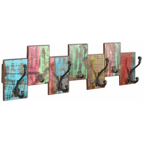 Hommoo Coat Rack with 7 Hooks Solid Reclaimed Wood QAH09816