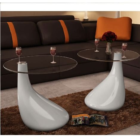Hommoo Coffee Table 2 pcs with Round Glass Top High Gloss White