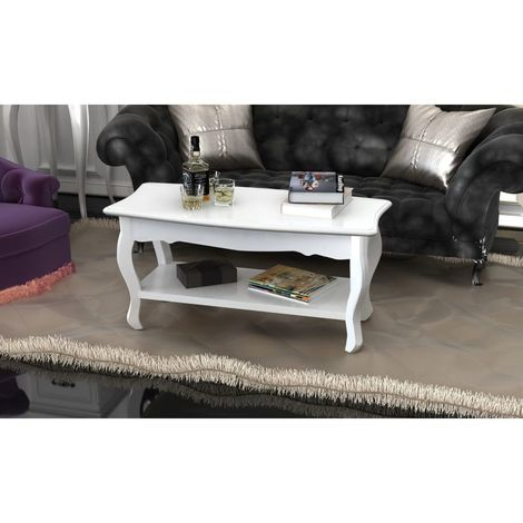 Hommoo Coffee Table 2 Tiers MDF White
