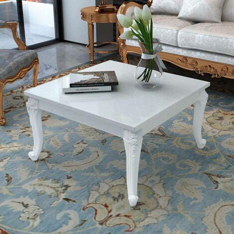 Hommoo Coffee Table 80x80x42 cm High Gloss White VD09773