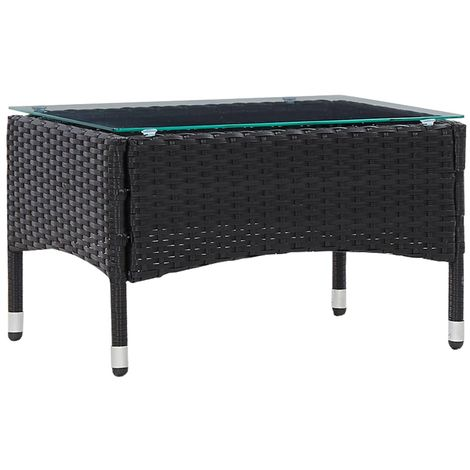 Hommoo Coffee Table Black 60x40x36 cm Poly Rattan