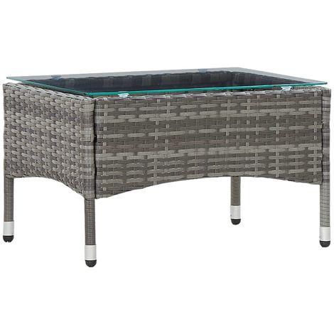 Hommoo Coffee Table Grey 60x40x36 cm Poly Rattan