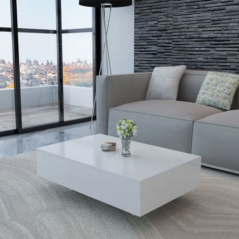 Hommoo Coffee Table High Gloss White VD10256