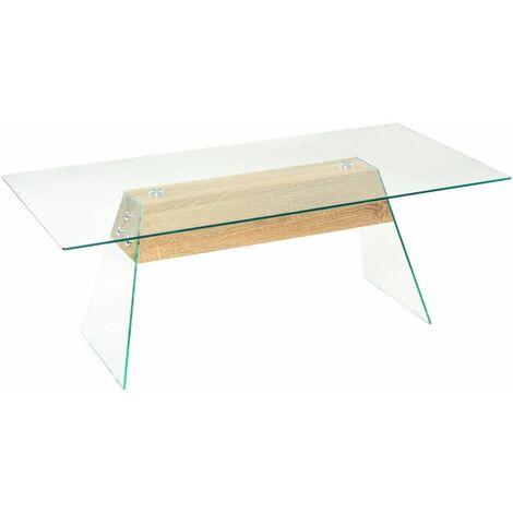 Hommoo Coffee Table MDF and Glass 110x55x40 cm Oak Colour QAH11591