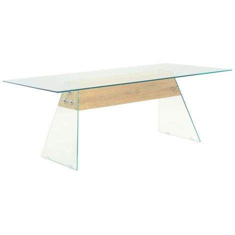 Hommoo Coffee Table MDF and Glass 110x55x40 cm Oak Colour VD11591