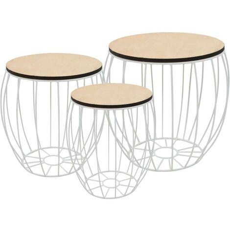 Hommoo Coffee Table Set 3 Pieces Poplar Plywood Iron