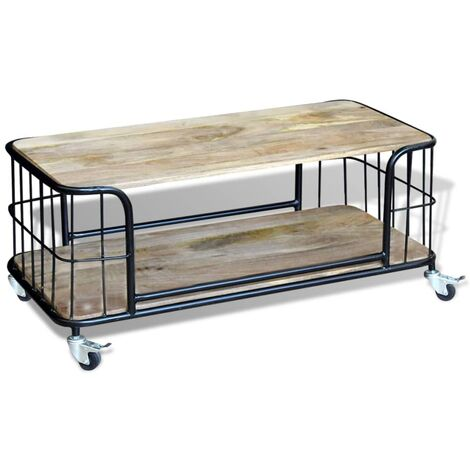 Hommoo Coffee Table Solid Mango Wood 100x50x35 cm QAH09723