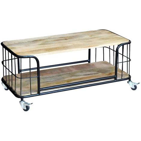 Hommoo Coffee Table Solid Mango Wood 100x50x35 cm VD09723