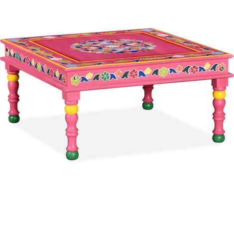 Hommoo Coffee Table Solid Mango Wood Pink Hand Painted