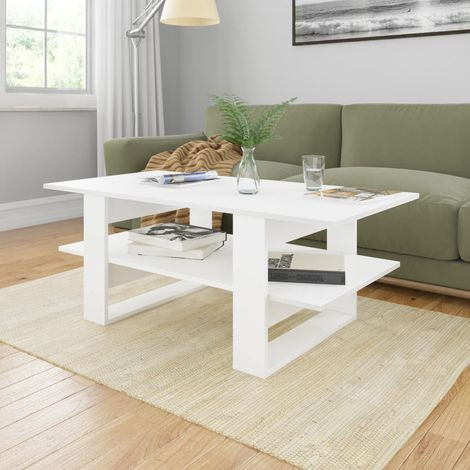 Hommoo Coffee Table White 110x55x42 cm Chipboard