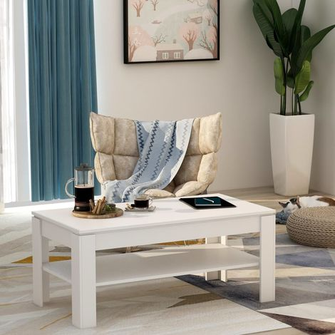 Hommoo Coffee Table White 110x60x47 cm Chipboard