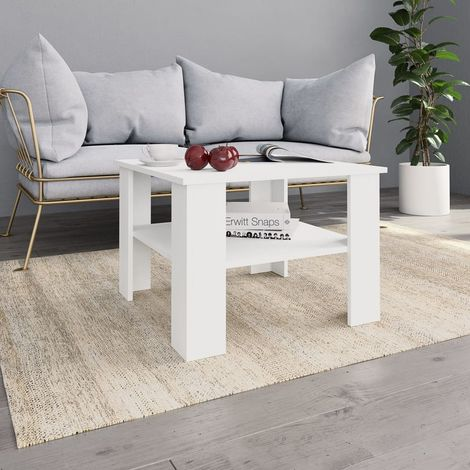 Hommoo Coffee Table White 60x60x42 cm Chipboard