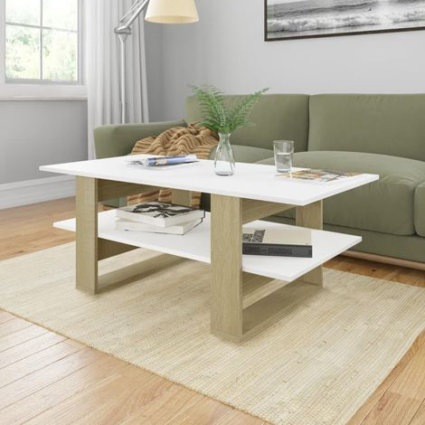 Hommoo Coffee Table White and Sonoma Oak 110x55x42 cm Chipboard
