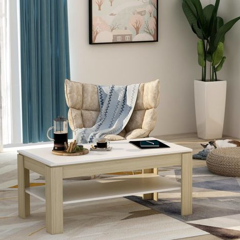 Hommoo Coffee Table White and Sonoma Oak 110x60x47 cm Chipboard