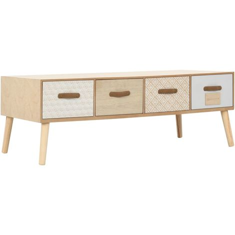 Hommoo Coffee Table with 4 Drawers 110x50x40 cm Solid Pinewood