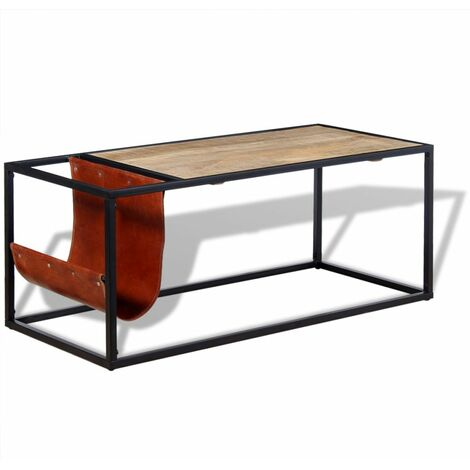 Hommoo Coffee Table with Genuine Leather Magazine Holder 110x50x45 cm