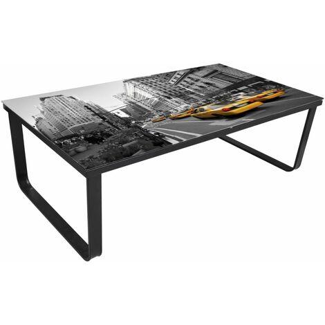 Hommoo Coffee Table with Glass Top Rectangular QAH08462