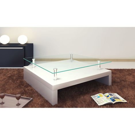 Hommoo Coffee Table with Glass Top White VD30957