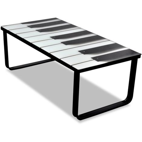 Hommoo Coffee Table with Piano Printing Glass Top