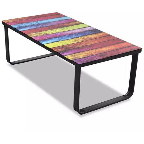 Hommoo Coffee Table with Rainbow Printing Glass Top
