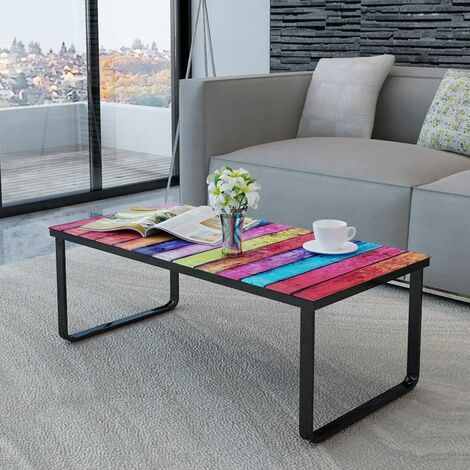 Hommoo Coffee Table with Rainbow Printing Glass Top QAH08590
