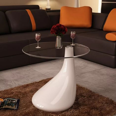 Hommoo Coffee Table with Round Glass Top High Gloss White