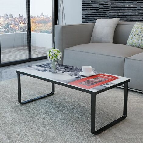 Hommoo Coffee Table with Telephone Booth Printing Glass Top QAH08591