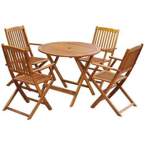 Hommoo Comedor de jardín plegable 5 piezas de madera maciza de acacia