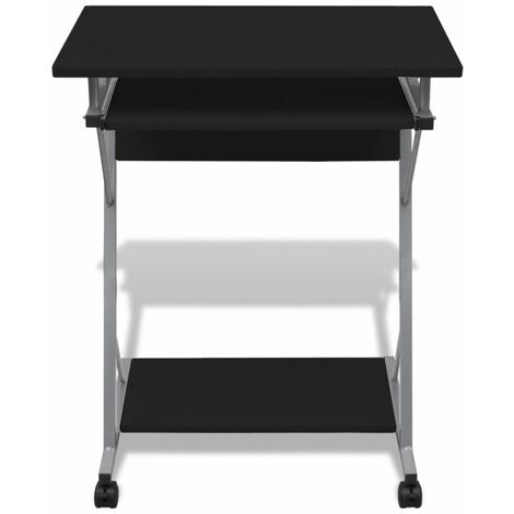 Hommoo Compact Computer Desk with Pull-out Keyboard Tray Black QAH07398