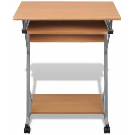 Hommoo Compact Computer Desk with Pull-out Keyboard Tray Brown QAH07399