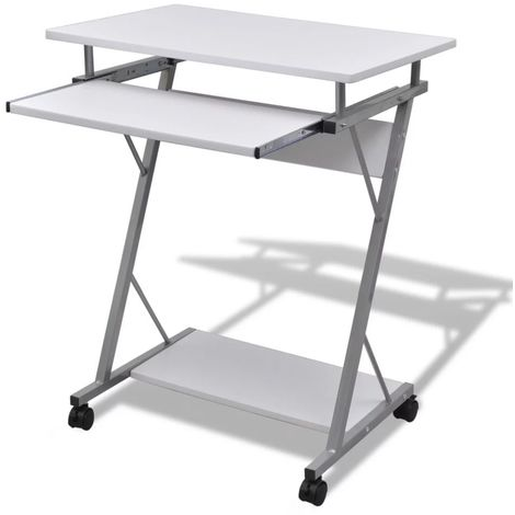 Hommoo Compact Computer Desk with Pull-out Keyboard Tray White