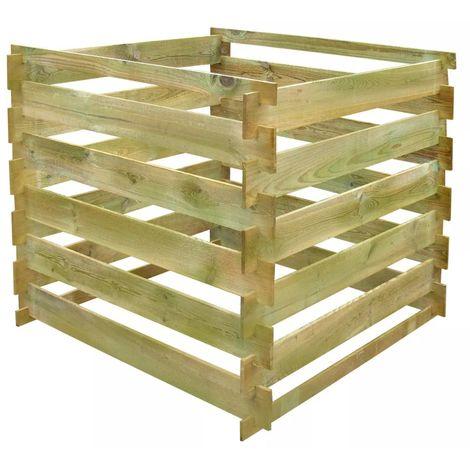 Hommoo Compostador de listones cuadrado de madera 0,54 m3