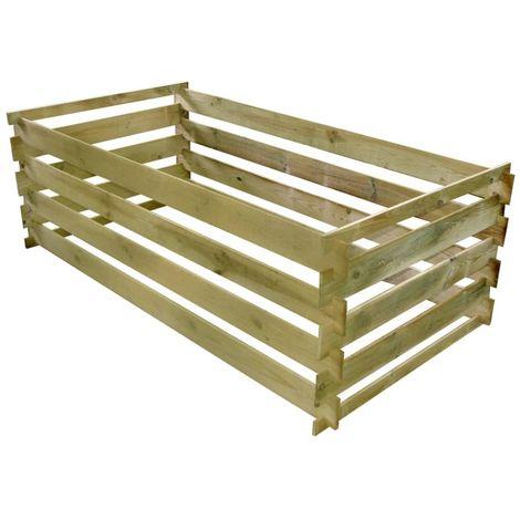 Hommoo Compostador de tablas de madera de pino impregnada 160x80x58 cm