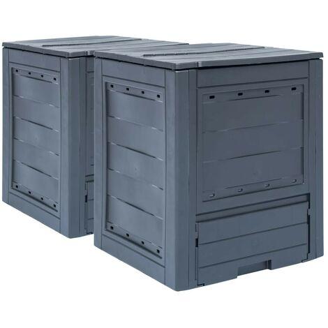 Hommoo Compostadores de jardín 2 unidades gris 520 L 60x60x73 cm